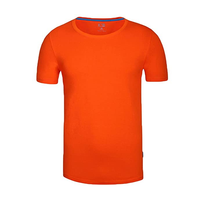 e870e63942e1 ZKOO Herren Kurzarm Basic T Shirts Sommer Baumwolle Freizeit Sport T-Shirt  Blusen Tops Einfarbig Orange  Amazon.de  Bekleidung