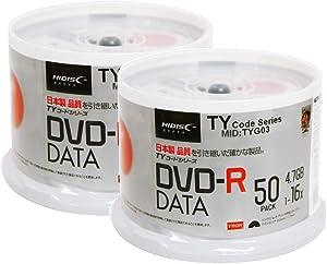 100 Spindle HiDisc DVD-R 16X 4.7GB 120Min (Taiyo Yuden TY Code MID TYG03) White Inkjet Hub Printable Blank Recordable Disc