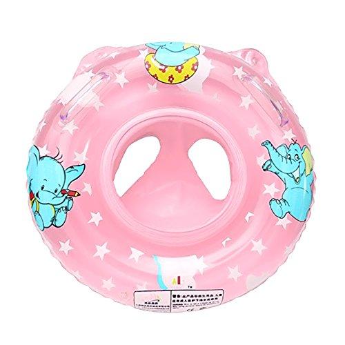 Cartoon Elefant Baby Aufblasbare Kindersitz Sicherheit Schwimmbad Schwimmen Schwimmen Ring unter Arm Bad-Ring mit Griff Pink