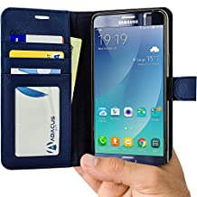 Note 5 Case, Abacus24-7 Note 5 Wallet Case, Leather Galaxy Note 5 Flip Cover with Card Holder and Kickstand - Blue Flip Case for Samsung Note 5 Phone