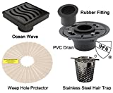 Royal Drains By Serene Steam Ocean Wave KIT with Stainless Steel Hair Trap ABS or PVC Drain and Weep Hole Protector (PVC, Oil Rubbed Bronze)
