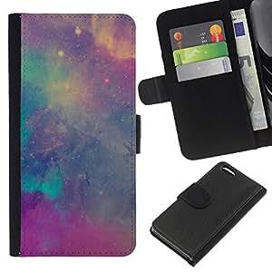 KingStore / Leather Etui en cuir / Apple Iphone 5C / Violet Teal Ciel Cosmos