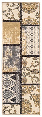 Kapaqua Custom Size Grey Ivory Fancy Patchwork Rubber Backed Non-Slip Hallway Stair Runner Rug Carpet 22 inch Wide Choose Your Length 22in X 12ft