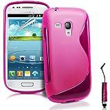 S-Line Design Schutzhülle für Samsung Galaxy S3 mini i8190 Cover Handy Tasche Etui Hülle aus TPU Silikon Schutzfolie, Reinigungstuch, Mini Eingabestift AOA CasesTM (Rosa)