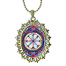 Solomons 3rd Seal Saturn for Protection Against Others Plots Huge Light Gold Medallion Rhinestone Pendant