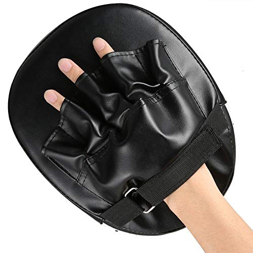 (Sricam 2 pcs Boxing Gloves Pads for Muay Thai Kick Boxing Karate Taekwondo Mitt MMA Training PU Foam Boxer Hand Target Pad Focus Punch Pad (Black))