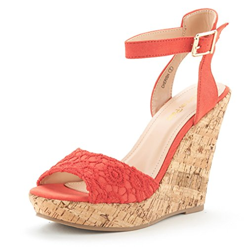 fa9ea213d9ea DREAM PAIRS CHERISH Women s Fashion Outdoor Ankle Strap Peep Toe Cork Platform  Wedge Casual Sandals CORAL SIZE 7 - Buy Online in Oman.