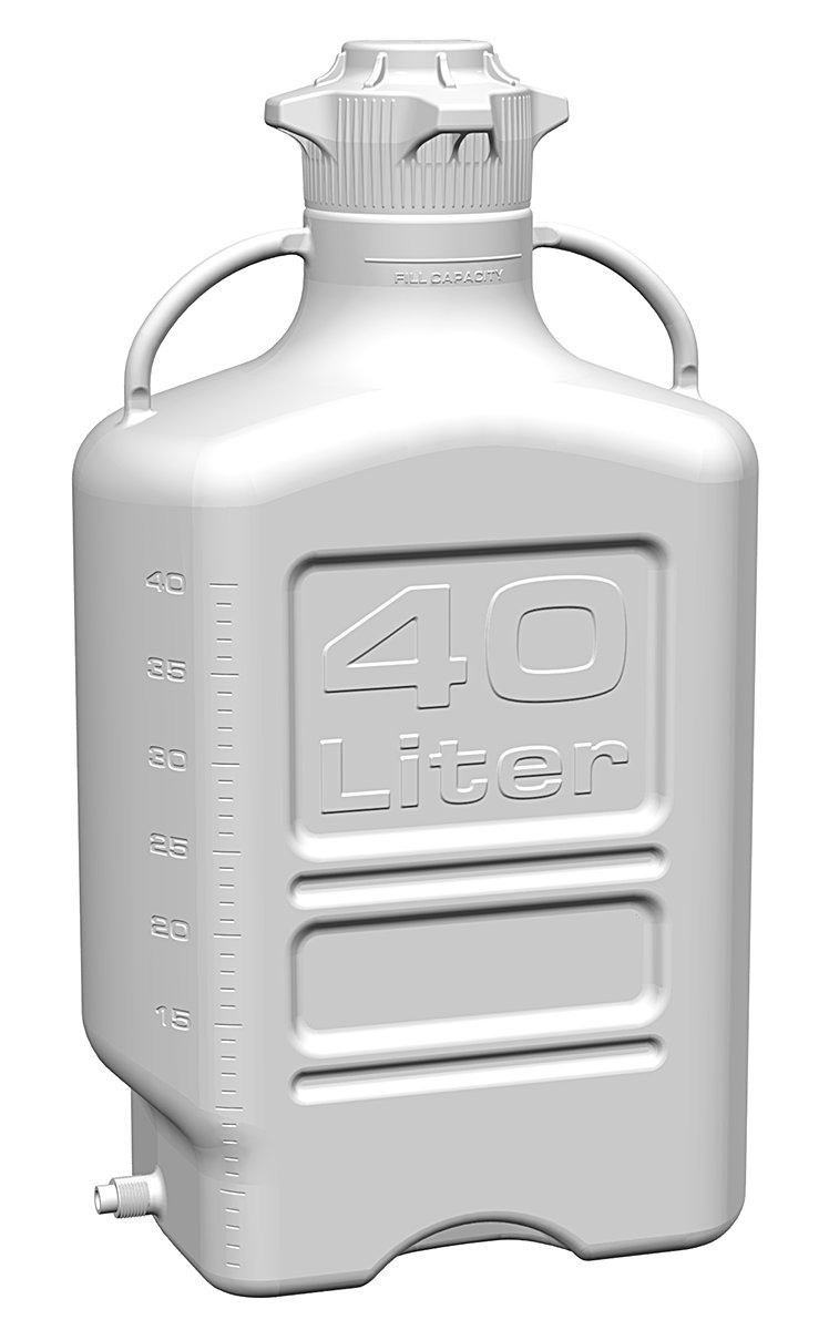 EZgrip 40L (10 Gal) Autoclavable Polypropylene Space Saving Carboy with Leakproof Spigot, Wide Mouth 120mm VersaCap and 50L Max Capacity