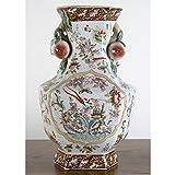 Home decor. Red White Flower Vase. Dimension: 9 x 8 x 15. Pattern: Regency.