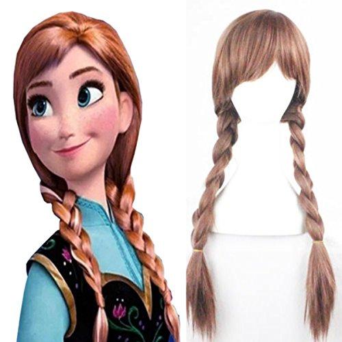 Peluca trenzada para disfraz de princesa Elsa Anna Snow Queen Frozen: Amazon.es: Belleza