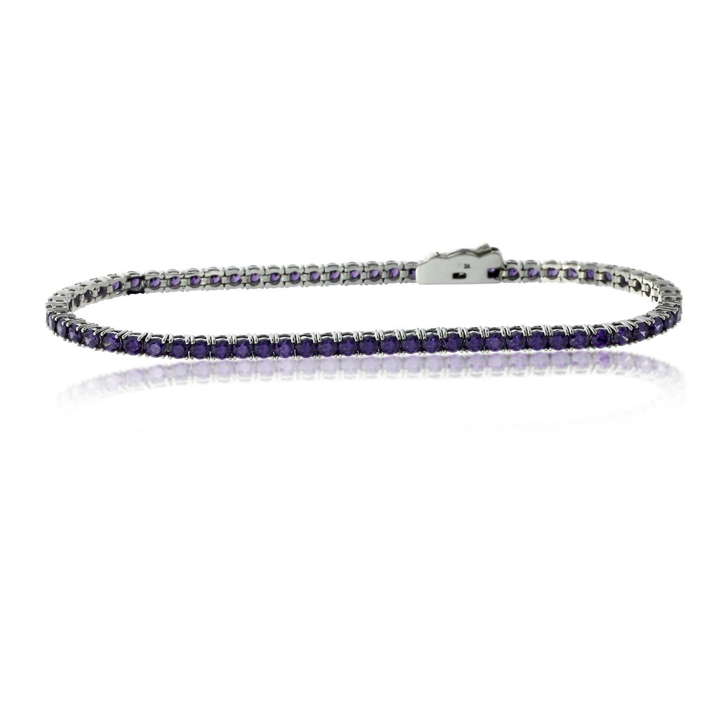 Sterling Silver Rhodium Plated 2.5mm 3.6 ct.tw Round CZ Simulated Amethyst Tennis Bracelet, 7.25 Inch by Double Accent (Image #2)