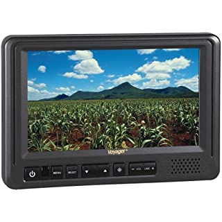 Sale Off Voyager AOM713 7' Rear View Wide Format LCD Monitor with 3 Camera Inputs Heavy Duty Color LCD Panel 12 and 24 Volt Power System NTSC and PAL Video Signal Compatible Auto Day/Night Brightness Mode