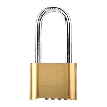 Outdoor Lock 4 Digit Combination Code Long Lock Waterproof Brass Padlock