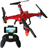 2.4GHz Six Gyro Foldable Drone WIFI FPV Real-Time Video Remote Controlled Rechargeable Quadcopter Aircraft with HD Camera Mantis(Red-FQ20W)
