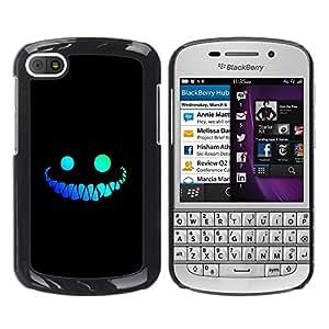 TopCaseStore / la caja del caucho duro de la cubierta de protección de la piel - Cool Funny Face Smile Evil Teeth Black - BlackBerry Q10