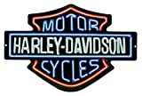 Harley-Davidson Neon Lights Embossed Bar & Shield Tin Sign, 19 x 12 in 2011381