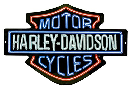 (Harley-Davidson Neon Design Embossed Bar & Shield Tin Sign, 19 x 12 in)