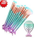 Funfunman Makeup Brushes 11PCS Make Up Foundation Eyebrow Eyeliner Blush Cosmetic Concealer Brushes(Mermaid Colorful)