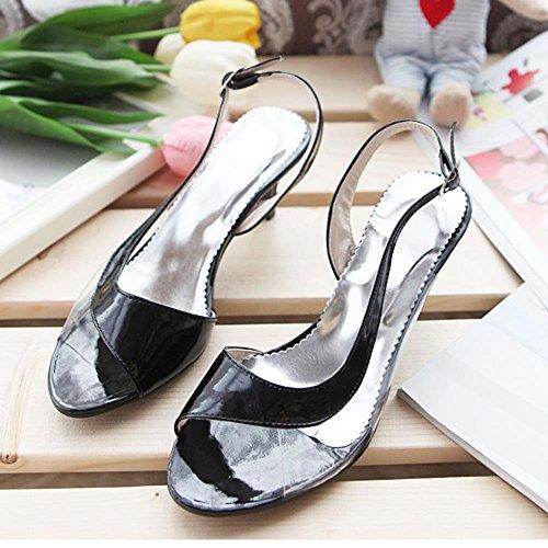 FANIMILA Mujer Moda Mini Tacon Strappy Sandalias Peep Toe Transparent Zapatos Extra Sizes Negro