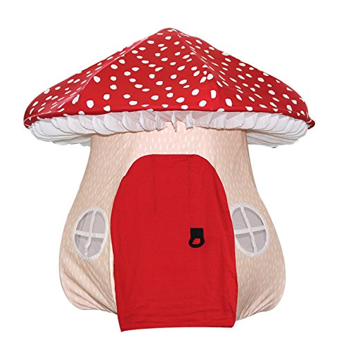 ASWEETS Mushroom Home Cotton Canvas Play Tent, Red/Tan by Asweets (Image #1)