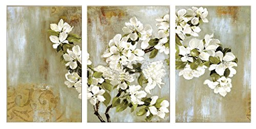 JOJOIL Art Hand Painted Canvas Flower Wall Art Oil Painting 3 Piece Framed Floral Artwork Set for Bedroom Decoration