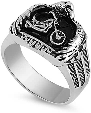 Stainless Steel Ring - Eagle and Motorcycle Design