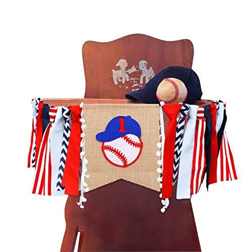 Kitticcino Baseball Highchair Banner-Baseball Theme Handmade 1st First Birthday Banner for Baby Shower Party Supplies ()
