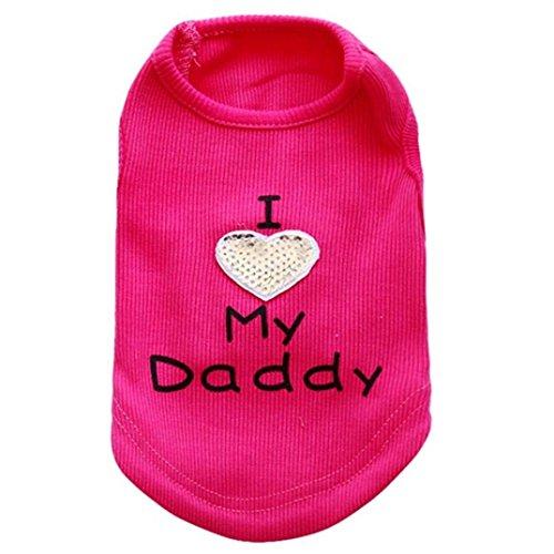 Axchongery Pet Vest, Winter Dog I Love My Daddy Sweatshirt Soft Small Puppy Doggy Cat Apparel (Hot Pink, (Dog Doggie Tank)