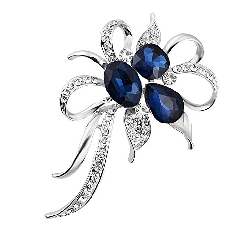 Isijie Jewelry Silver Plated Fashion Blue and White Bouquet Rhinestone Crystal Brooch Flower Corsage