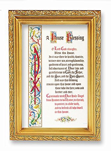 House Blessing S Gold Frames 4.5'' x 6.5: Italian Lithograph ROMEO Series With PHerbert Blessing by Bertof