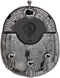 Glass Dress Sporran 3 Tassels Studded Targe Celtic Arch Scottish Clan Name Crest