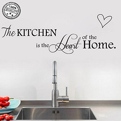 Wall Stickers 'The Kitchen ' Vinyl Wall Decal Words Quote Wall Art Sticker Home Decor 24.4 X 9 in (Black)