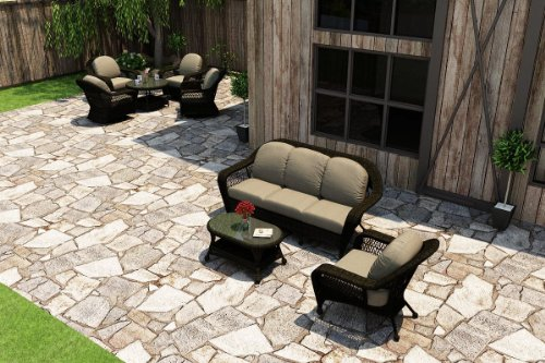 Catalina Outdoor Sofa (Forever Patio 3 Piece Catalina Outdoor Sofa Set, Sable Wicker with Beige Sunbrella Cushions (SKU FP-CAT-3SS-SB-MS))