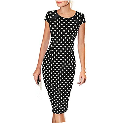 haoricu Women Dress, 2017 Women Dots Short Sleeve Sexy Slim Party Cocktail Pencil Dress (Asian Size:XL, Black)