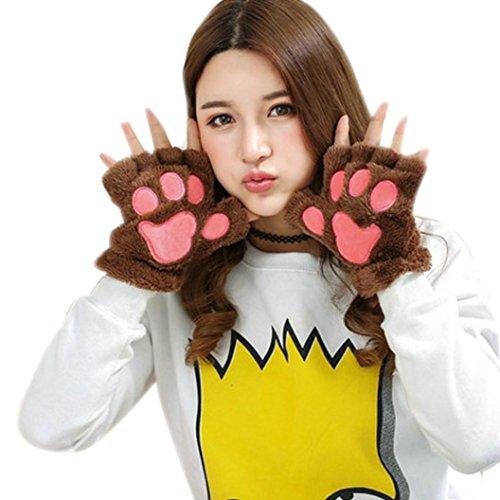 Sunfei Women Plus Velvet Thickening Half-finger Flip Keep Warm Gloves (Coffee)