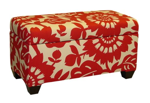Skyline Furniture Walnut Hill Storage Bench in Gerber Cherry Fabric - Cherry Upholstered Ottoman