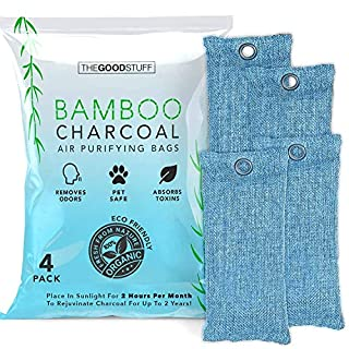 Bamboo Charcoal Air Purifying Bag: 4 Pack - Odor Eliminator to Naturally Freshen Your Rooms, Shoes, Lunch Box, Fridge and Car - Bamboo Charcoal Bags Odor Absorber, Charcoal Shoe Deodorizer Bags, Natural Air Purifier