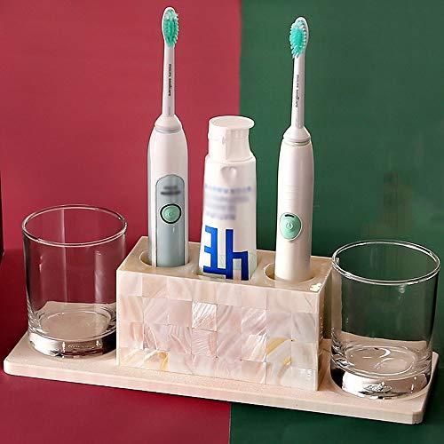 DDSS Bathroom accessories set Crystal Glass Bathroom Shell wash Set Four-Piece Toothbrush Rack Couple Toothbrush Cup /-/ by DDSS Bathroom accessories set (Image #2)