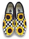 Checkerboard Sunflower Custom Vans Brand Slip on Shoes