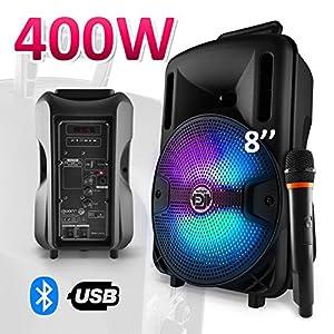 "Enceinte karaoké batterie sono 400W 8"" LED USB/SD/BLUETOOTH + Mic - MyDJ DJOON08 4"