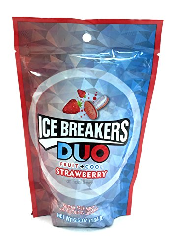Icebreakers Strawberry Fruit Cool Duo Sugar Free with Cooling Crystals, 6.5 Ounces Bag (Pack of 2) ()