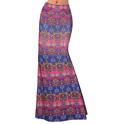 Orfila Womens Printed Maxi Skirt Elastic High Waist Skirt Casual Long Skirt Beach Dress, Purple (Printed Maxi Skirt)