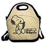 Peanuts Snoopy Sleeping Lunch Bag Lunch Tote, Waterproof Outdoor Travel Picnic Lunch Box Bag Tote With Zipper And Adjustable Crossbody Strap