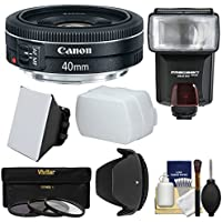 Canon EF 40mm f/2.8 STM Pancake Lens with 3 Filters + Hood + Flash & 2 Diffusers + Kit for EOS 6D, 70D, 5D Mark II III, Rebel T3, T3i, T4i, T5, T5i, SL1 DSLR Cameras