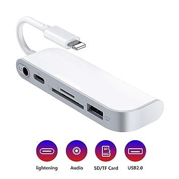 Lector de Tarjeta SD TF,Adaptador USB a Phone Pad,Lector de Cámara USB 5 en 1, 1 Interfaz USB 2.0 OTG, Lector de Tarjetas SD/TF, 1 Puerto PD, Conector ...