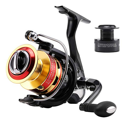 Small rivulet 5.2:1/4.7:1 Commander2000 3000 4000 5000 Spinning Fishing Reel 10Bb Spinning Wheel Fishing Tackle +1P Free Spare Spool,10,2000 Series (Free Sleeve Reel Long T-shirt)