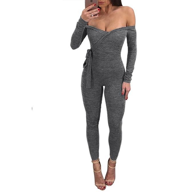 Amazon.com: lovaru Womens Jumpsuits Bodycon de punto fuera ...