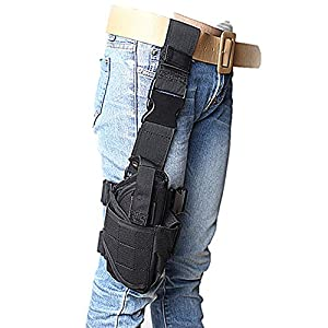 ZJY Adjustable Tactical Hunting Right Handed Leg Pistol Gun Pouch Holder Drop Leg Thigh Holster