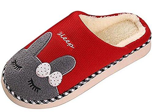 Minetom Doux Slippers Unisexe Hiver Dessinée Couple Peluche Chaussons Confortables Pantoufles Rouge Bande Style r1rOIwq