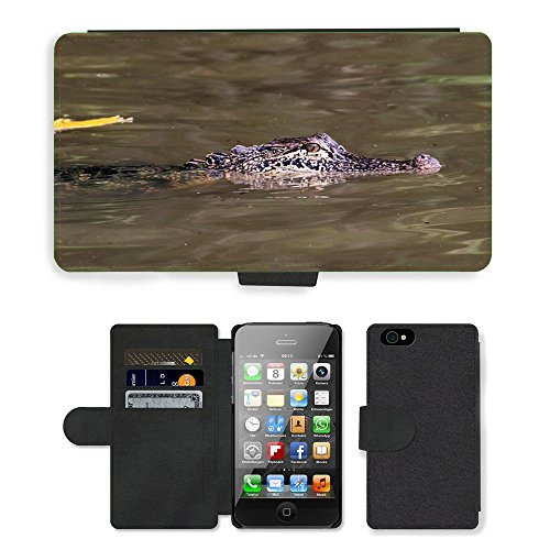 Just Phone Cases PU Leather Flip Custodia Protettiva Case Cover per // M00128021 Alligator Bayou marais animale // Apple iPhone 4 4S 4G